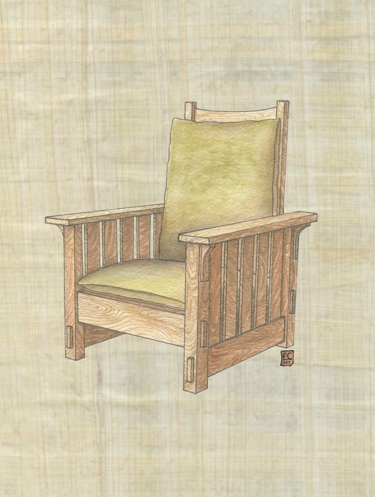Arts And Crafts Furniture Series Morris Style Chair On Papyrus Leisa Collins Art