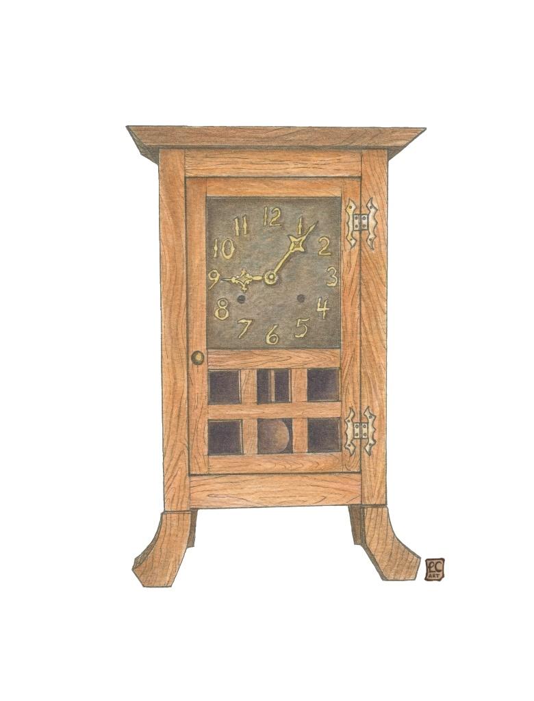 Arts And Crafts Furniture Series Oak Clock Leisa Collins Art