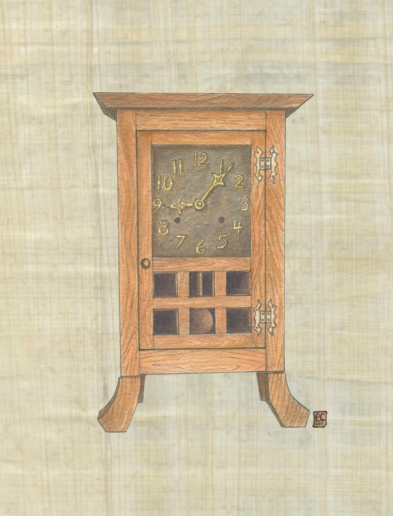 Arts And Crafts Furniture Series Oak Clock On Papyrus Leisa Collins Art