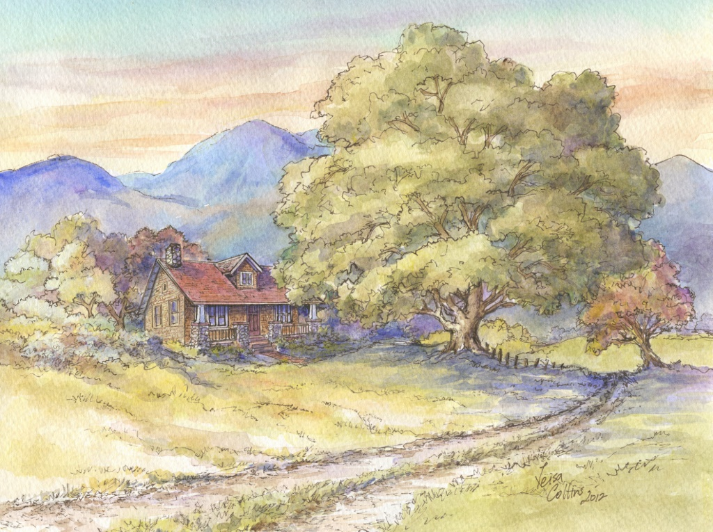 Arts and crafts series rural scene with oak tree leisa for Arts and crafts for sale