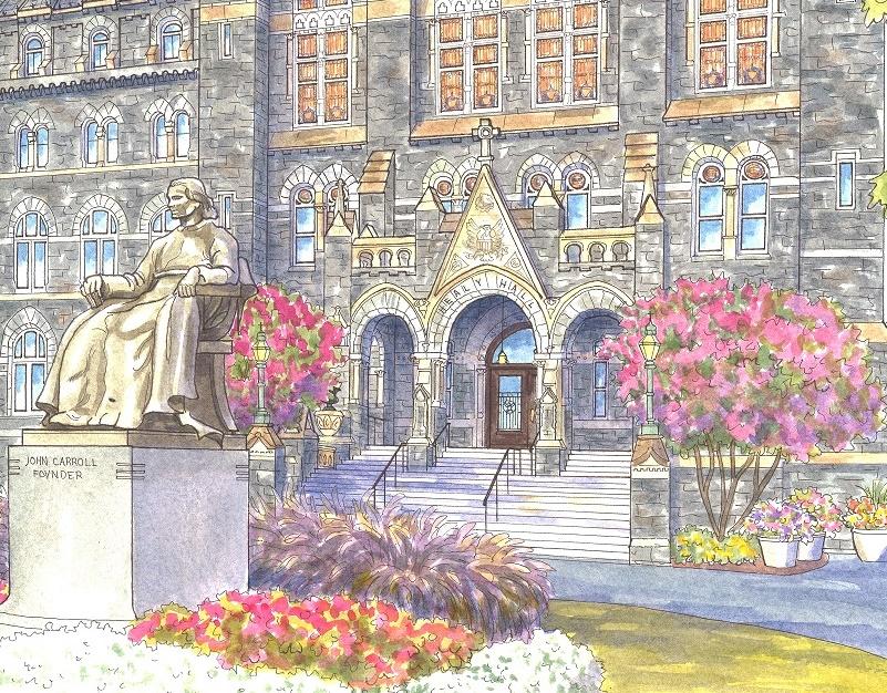 Painting of Georgetown University, Washington DC